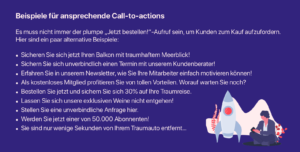 Call to action Beispiele