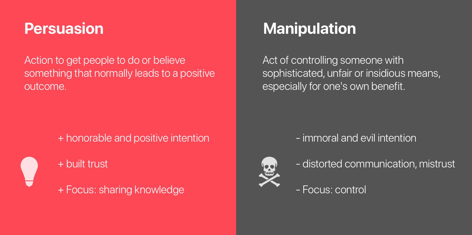 Manipulation versus Überzeugung positiv negativ Kunden Kaufentscheidung